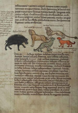 114v Five-allegorical-beasts -black-wild-boar-for-deceitful,-pale-horse-for-lascivious,-yellow-lion-for-fierce,-grey-wolf-for-cunning-and-rapacious,-and-red-hound-for-wrathful-man