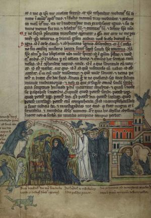 54v St-Benedict-offered-bread-at-Easter,-led-into-monastery,-and-ordering-raven-to-take-poisoned-bread-away