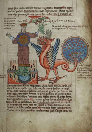 76r Seven-headed-Dragon,-Woman-clothed-with-sun,-her-son-Heraclius-taken-up-to-heaven