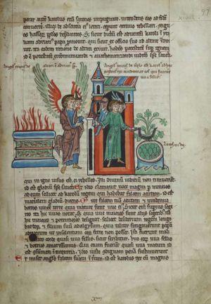 97r Sixth-Angel-interpreted-as-Pope-Adrian-I,-altar-on-fire,-seventh-Angel-interpreted-as-Charlemagne,-vintage