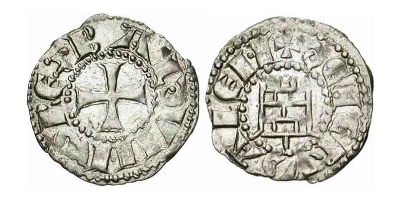 Башня цитадели на монетах Балдуина III