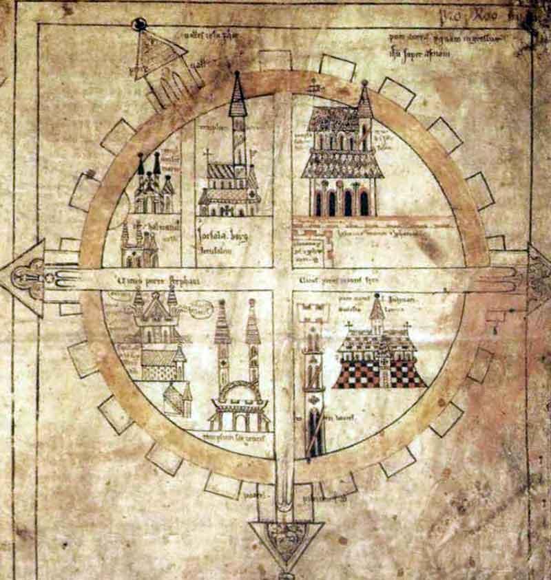Copenhagen map. Средневековая карта Иерусалима
