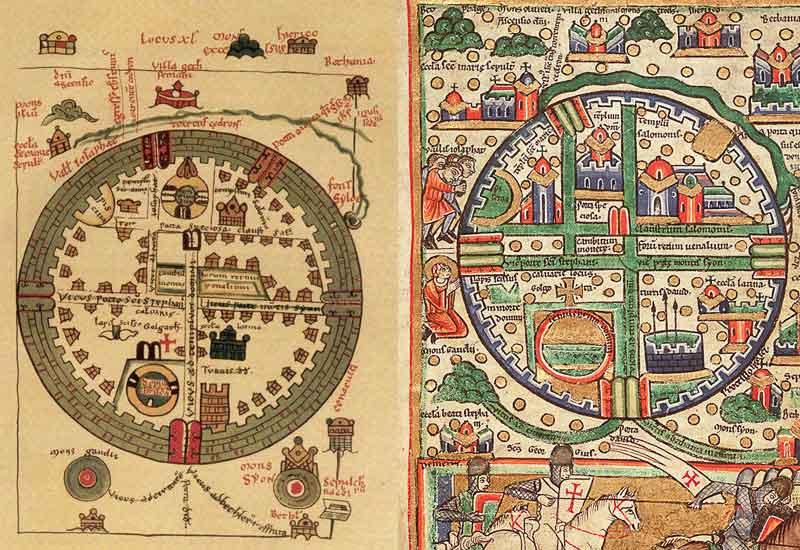 Башня Давида на картах Иерусалима