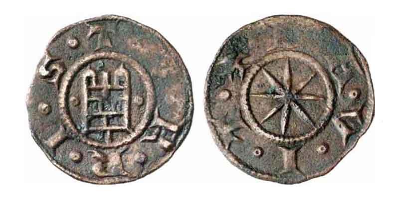 Башня цитадели на монетах Раймунда III