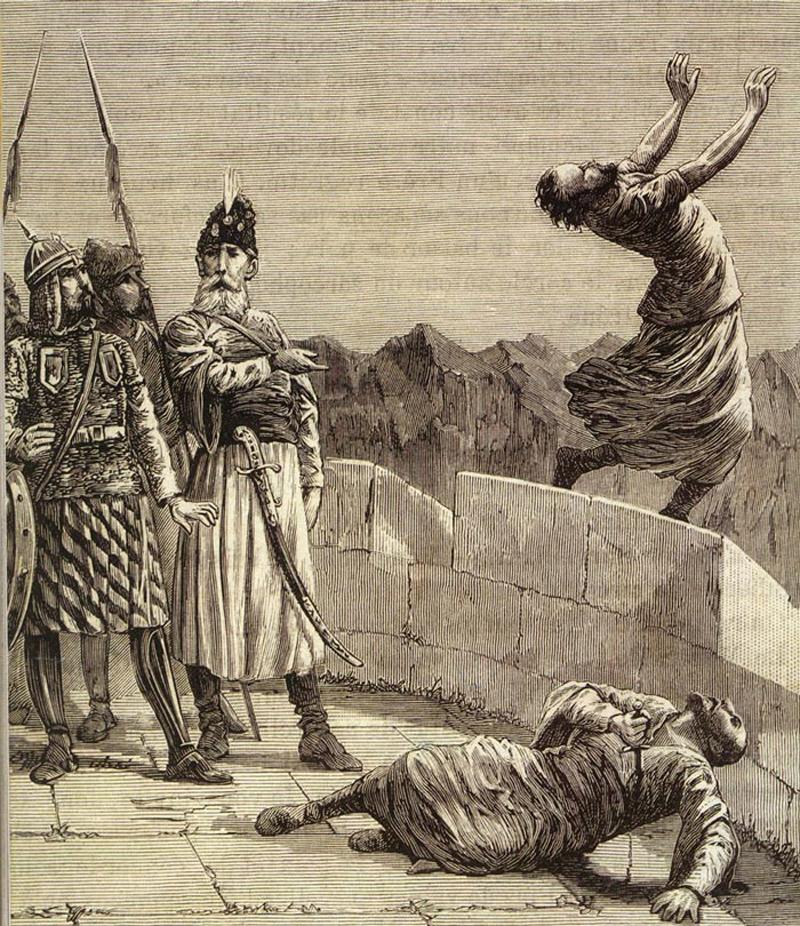 Ассасин прыгает со стены по желанию Старца горы
